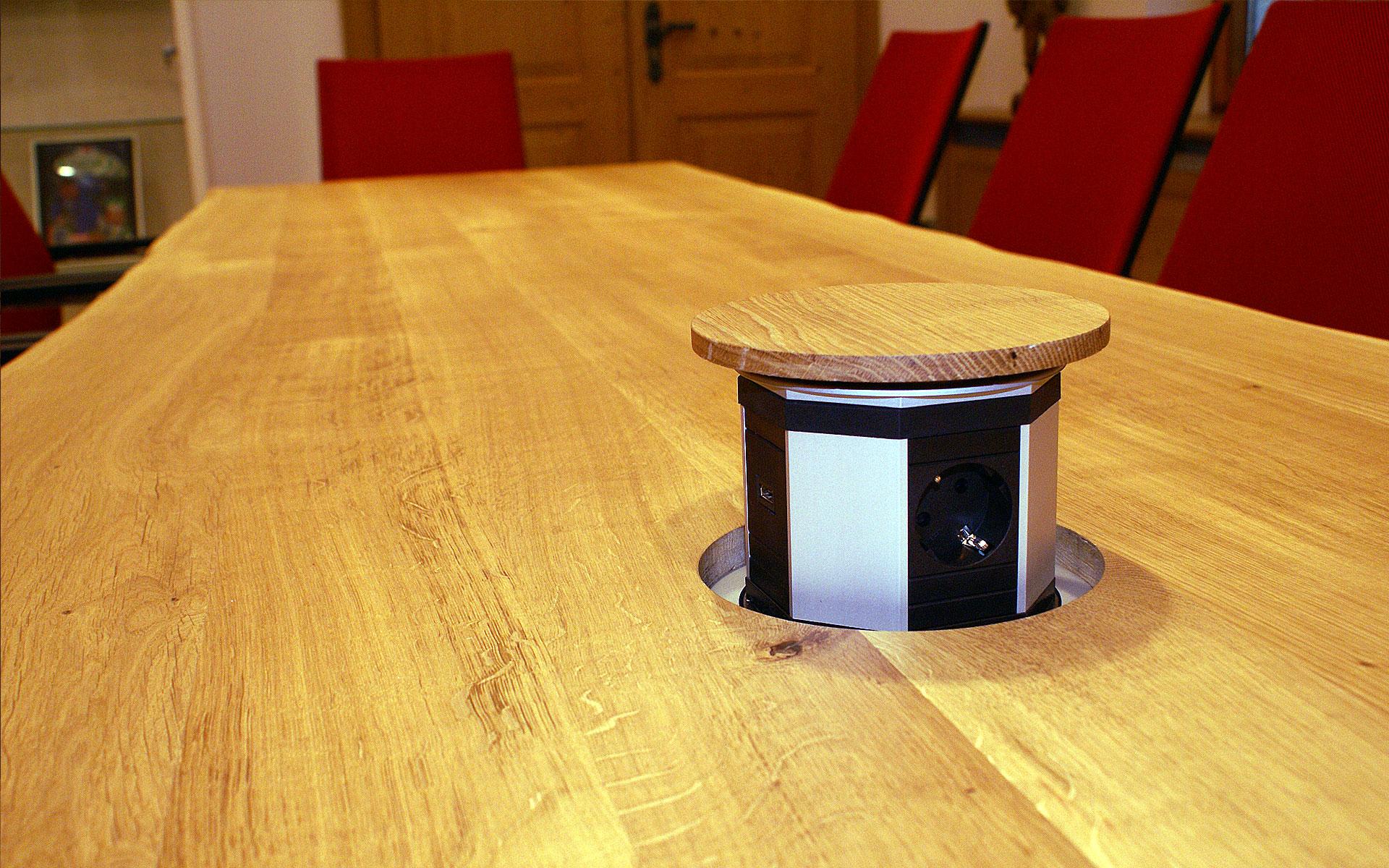 Versenkbare Steckdosen in der Tischplatte